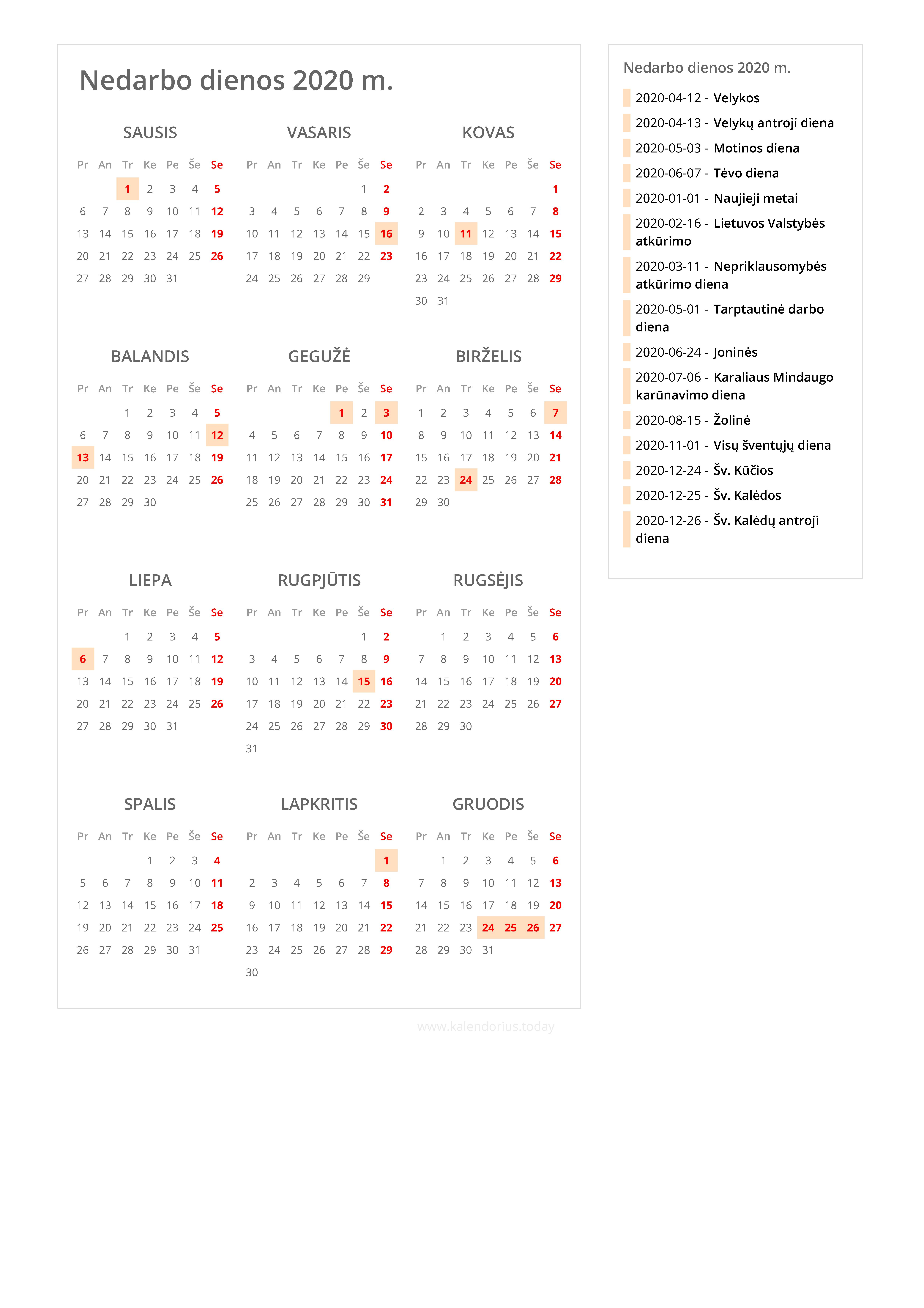 2020 Kalendorius.Nedarbo Dienos 2020 M Nedarbo Dienų Kalendorius